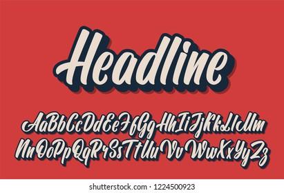 Headline lettering alphabet. Vector font.