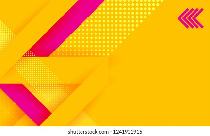 Headline presentation abstract yellow. Vector abstract background texture design, bright poster, banner yellow background, pink stripes and shapes. Hipster modern geometric abstract.