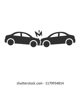A head-on collision of cars. monochrome icon
