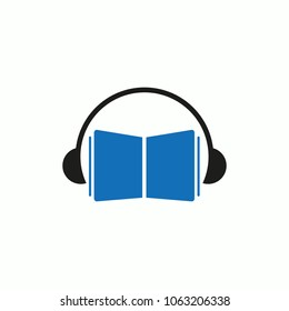 headphone book design vector, audiobook logo design, education audio music book