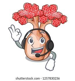 With headphone bottle shaped tree on a cartoon
