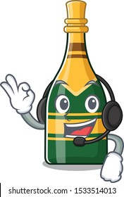 With headphone champagne bottle in the cartoon shape