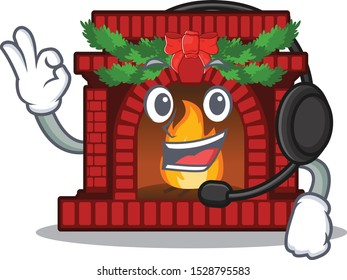 With headphone christmas fireplace on with the character