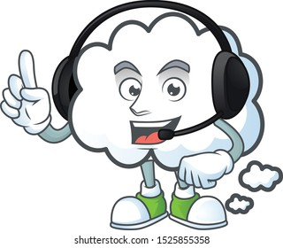 With headphone cloud bubble on a white background.