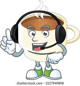 With headphone cup coffee cartoon on white background.