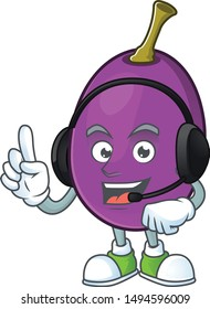 With headphone delicious winne fruit in a character cartoon