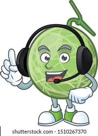 With headphone design melon cartoon character for fruit logo.