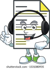 With headphone document cartoon mascot on white background