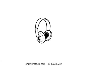 headphone doodle doodle icon vector