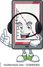 With headphone down chart vertical tablet with mascot