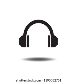 Headphone or Earphone icon vector flat sign symbols logo illustration isolated on white background.Concept for listening to music.