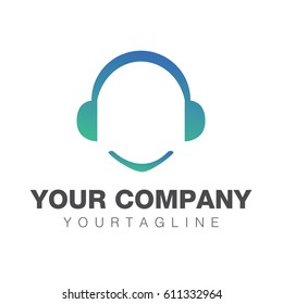 Headphone element music logo template design
