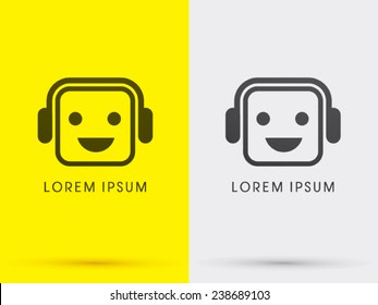 Headphone, face  smile, logo, symbol, icon, graphic, vector .