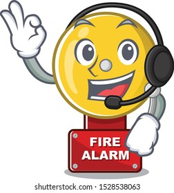 With headphone fire alarm in the a cartoon