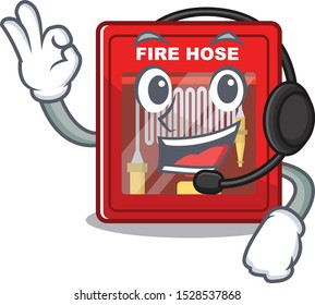 With headphone fire hose cabinet on the cartoon