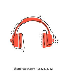 Headphone headset icon in comic style. Headphones vector cartoon illustration pictogram. Audio gadget business concept splash effect.