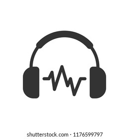 Headphone headset icon in flat style. Headphones vector illustration on white isolated background. Audio gadget business concept.