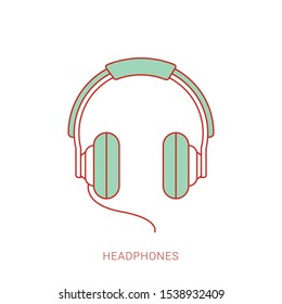 Headphone headset icon in flat style