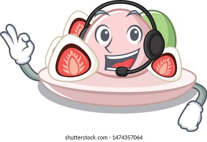 With headphone ichigo daifuku served on mascot bowl