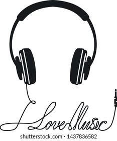 Headphone icon i love music vector
