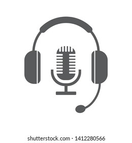 Headphone icon with microphone symbol Vector illustration