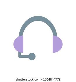 Headphone Icon, Simple Flat Style - Vector