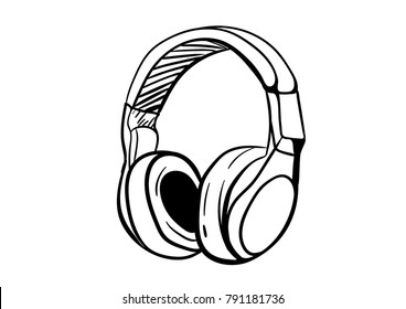 headphone icon vector doodle
