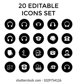 Headphone icons. set of 20 editable filled headphone icons such as desk phone, support, headphones, headset. best quality headphone elements in trendy style.