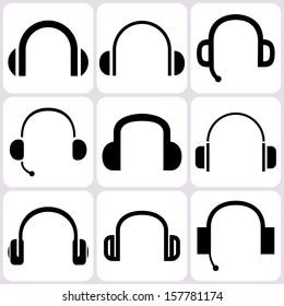 headphone icons set
