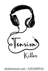 headphone illustration with slogan