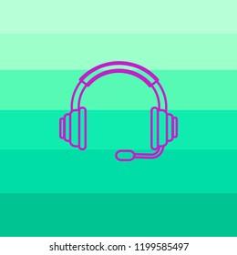 Headphone Isolated Flat Web Mobile Icon.