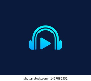 Headphone logo dj play button vector