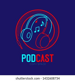 Headphone logo icon outline stroke with music note in cable circle frame dash line, Podcast internet radio program online concept illustration isolated on blue background with PODCAST text, vector