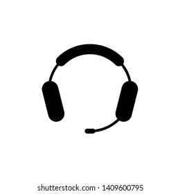Headphone with Microphone. Isolated Vector Illustration