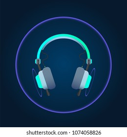 Headphone music lighting. technology Concept. Vector illustration.