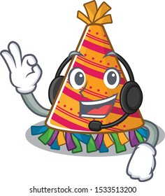 With headphone party hat in a above mascot