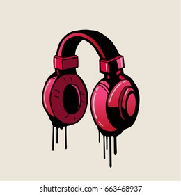 Headphone pink graffiti style, vector.