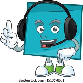 With headphone rectangle sticker paper in cartoon character