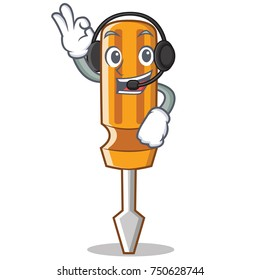 With headphone screwdriver character cartoon style