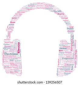 Headphone Shaped Word Cloud - Electronic Music Concept