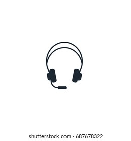Headphone silhouette icon. High quality black monochrome logo for web site design and mobile apps. Vector illustration on a white background.