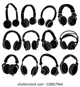 Headphone Silhouettes Set in vectors