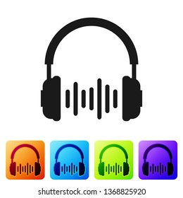 Headphone and sound waves icon on white background. Earphone sign. Concept object for listening to music, service, communication and operator. Set icon in color square buttons. Vector Illustration