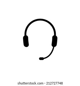 Headphone for support or service - icon isolated on white