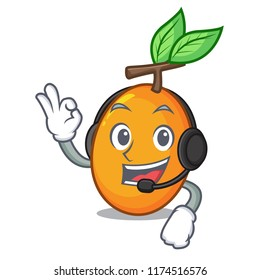With headphone sweet yellow plum isolated on mascot