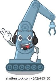 With headphone toy mechatronic robot arm cartoon shape