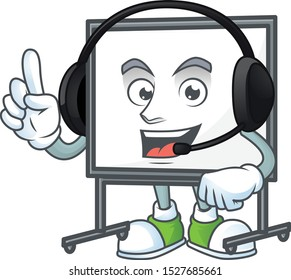 With headphone white board cartoon on white background