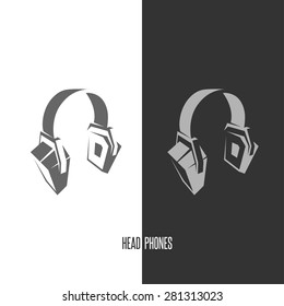 Headphones abstract vector graphic sign. Emblem or logo.