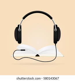 Headphones with books. Audio-book concept. Modern technology.