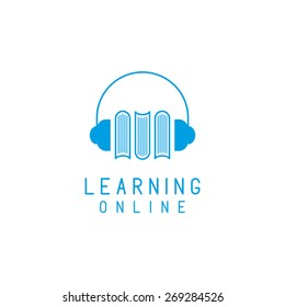 Headphones and books logo, online language learning, concept network education.